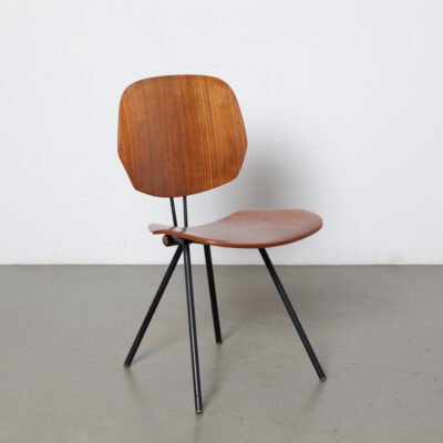 S88 folding chair Osvaldo Borsani Tecno Italy black tubular steel frame 7 part hinge joint rotate legs tropical hardwood veneer moulded plywood seat back repair Mid-Century Modern Vintage retro fifties 50s 1950s architect seating