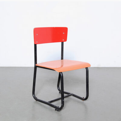 -Red-Tubular-Childrens-Chair-black-blue-desk-paul-schuitema-school-vintage-steel-wood