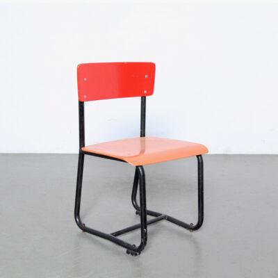 -Red-Tubolare-Sedia-bambino-nero-blu-scrivania-paul-schuitema-scuola-vintage-acciaio-legno