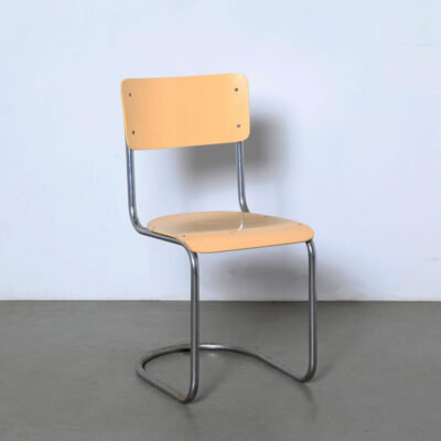 -chrome-tube-yellow-cantilever-chair-plywood-springy-slede-vintage-60s