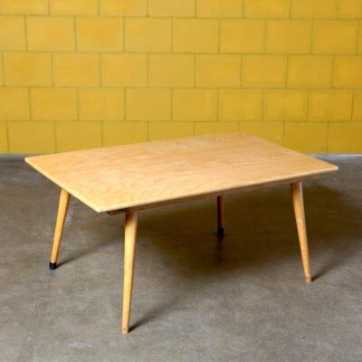-High-coffee-table-low-school-children-table-blond-wood-tapering-legs-vintage
