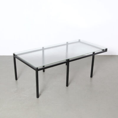 -Coffee-table-wire-glass-top-square-tube-black-safety-jannie-van-pelt-vintage-industrial-modern