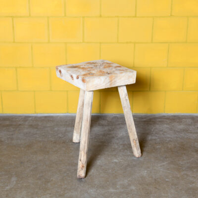-Wooden-chopping-block-side-table-three-legs-sculpture-stand-plant-woodworm-vintage-industrial