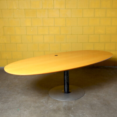 -oval-conference-table-ellipse-meeting-dining-single-round-leg-beech-veneer-hole-wiring-2000s