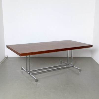 -Table-with-chromed-tubular-base-toe-metal-wood-sound-absorbing-vintage