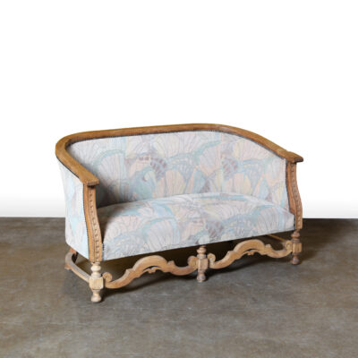 -2-seater-bench-elegant-oak-frame-sofa-faded-fabric-solid-oak-carved-vintage-antique-2-seat-bench-elegant-oak-frame-sofa-faded-fabric-solid-oak - vintage esculpido