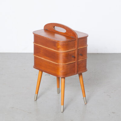 Danish Modern Teak Sewing Box style Hans Wegner Finn Juhl 1950s veneer plywood storage elegant design splayed legs portable handle cabinet kit side table sideways rotating drawer top compartment hinged lid 50s fifties midcentury modern vintage retro