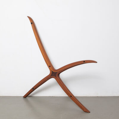 X-Chair side piece Peter Hvidt Orla Mølgaard-Nielsen Fritz Hansen Denmark sculpture hardwood laminated cross flowing lines Scandinavian Modern easy lounge vintage retro mid-century 60s 1960s sixties