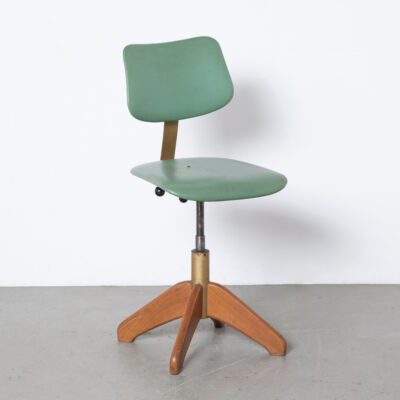 Stoll Giroflex work stool office chair Switzerland Swiss solid blond beech legs original green leatherette upholstery height adjustable backrest spring-loaded iron desk swivel vintage retro industrial mid-century modern 50s 1950s fifties