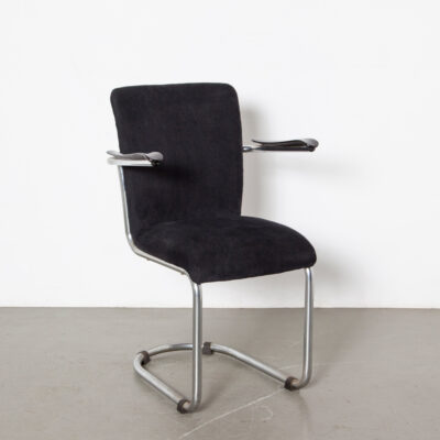 De Wit Schiedam model 1018 chair armchair Toon black corduroy bent nickel chromed tubular steel frame sculptural bakelite armrests cantilever floating vintage retro mid-century modern fifties 1950s office