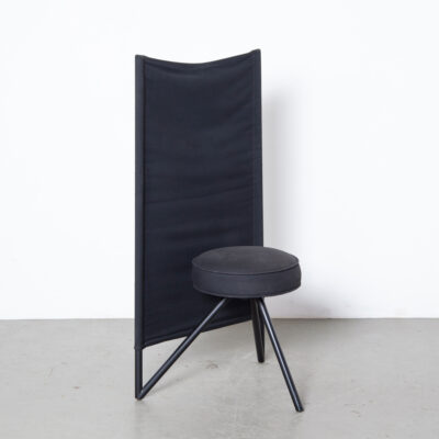 Miss Wirt chair Philippe Starck Disform Spain 1980s eighties black postmodern post-modern dining three leg tripod circle tubular black lacquered steel round cotton seat sculptural secondhand design vertical tubes back original canvas contrast rectangular