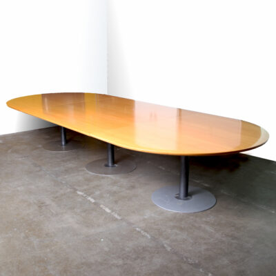 -long-oval-conference-table-Knoll-meeting-three-round-leg-beech-veneer
