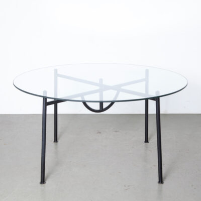 Nina Freed Table Philippe Starck round glass top circle Disform Spain 1980s eighties black postmodern post-modern dining tubular steel sculptural secondhand design legs fold flat Miss Dorn chair