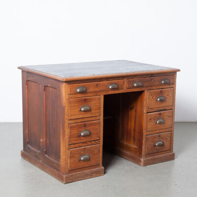 Traditional Desk nice details drawers brass handle dark green oilcloth top antique vintage retro classic conservative solid old growth tight grain pine spruce shelf office work bureau accountant Scrooge bankers clerk storage lots dovetail