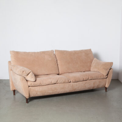 Rolf Benz Couch Sofa Tan Suede design seating high quality luxurious comfort elegant cushions removable zipper wood legs current contemporary modern secondhand