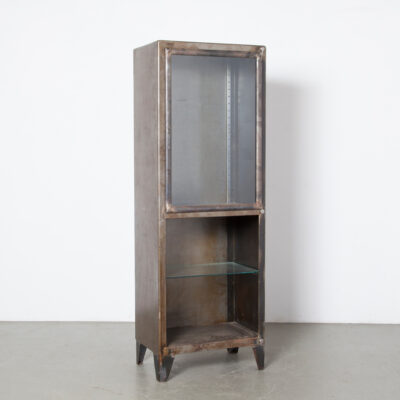 Blackened Bare Steel vertical cabinet glass shelves door solid bookcase display case etagere showcase exhibit cupboard storage closet medical hospital medicine pharmacist apothecary doctor lab style industrial vintage retro patina rust spots accents