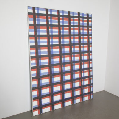 Acoustic Panel Red Blue Check Plaid decorative sound absorption deadening control noise reduce resonance recording studio sanctuaries home theatre restaurant listening room modern contemporary design secondhand screen partition room divider