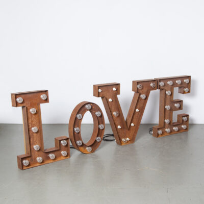 LoVE Luminous letters sign advertising billboard nameplate folded bent sheet steel lights fitting love light-box industrial decor piece art wall object decoration mood maker retro brocante design rust patina