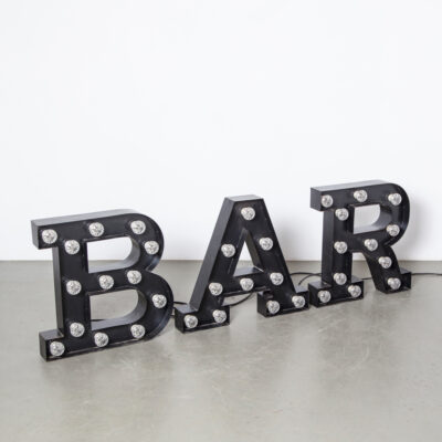 BAR Luminous Letters black sign advertising billboard nameplate folded bent sheet steel lights fitting light-box industrial decor piece art wall object decoration mood maker retro brocante design patina