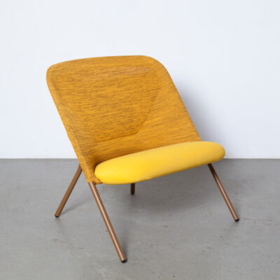 Shift Lounge Chair Jonas Forsman moooi powder-coated tube frame olive brown knitted polyester warm ocher yellow clever weaving panel lightweight folding rounded twenty-tens 2014 contemporary modern design armchair easy wide