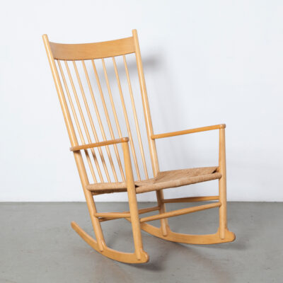J16 Rocking Chair Hans J Wegner Fredericia Denmark blond wood beech birch paper cord seat rocker sensually curved armrest Windsor Shaker spindle back highback vintage retro danish modern classic mid-century modern forties 40s