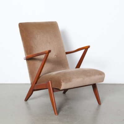 Dutch design high back Armchair brown velour upholstery solid hardwood frame sleek modern open sides zigzag springs mid-century vintage retro 60s 1960s sixties chair easy lounge arm Zorro Z armrests