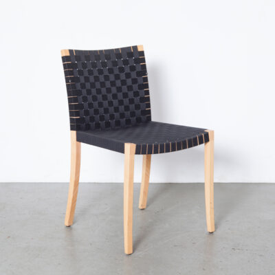 Nr 737 Chair Peter Maly Thonet Besonderes Besitzen woven webbing high quality workmanship craftsmanship solid beech frame finger joint Dining Vintage Modernist Postmodern Design clear finish blond seating black belt belting nineties 90s