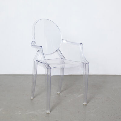 Louis Ghost chair Philippe Starck Kartell Italy clear transparent inspired Louis XV style Baroque plastic polycarbonate dining seating armrest stacking two-thousands 2002 contemporary modern retro design