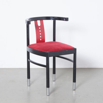 Dining Chair Gebrüder Thonet Vienna GmbH red black RVS feet mini brass badge portrait Michael eighties postmodern modern contemporary modernised classic cafe seating design