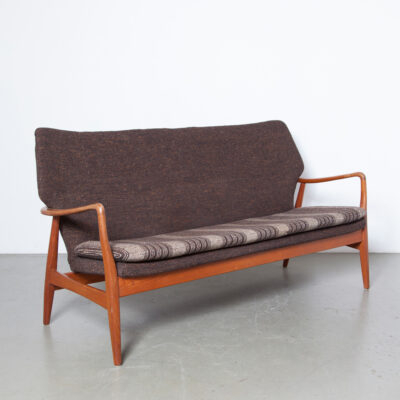Sofa Bovenkamp Aksel Bender Madsen high back wingback solid teak frame armrest sculptural organic shape original brown wool upholstery highback lounge easy couch Scandinavian mid-century modern vintage retro 60s 1960s sixties