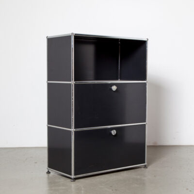 USM Haller System cabinet Paul Schaerer Fritz Haller file filing book shelf office modular black powder-coated steel panels chrome tube connectors vintage retro 60s 1960s sixties drop-front cupboard storage lock key work industrial