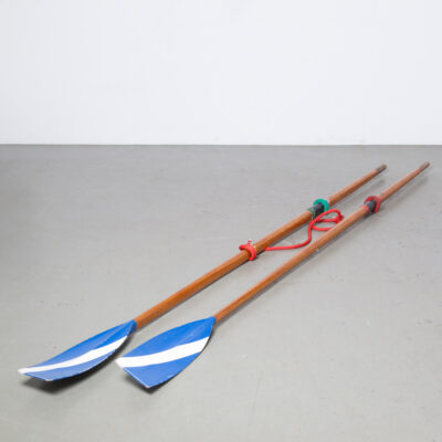 Vintage Macon Wooden Skulling Oars blue white sculls spoons tulips shovels oarlock rowboat sport gym exercise row paddle water display decor piece decorative item prop film TV rental curio retro brocante