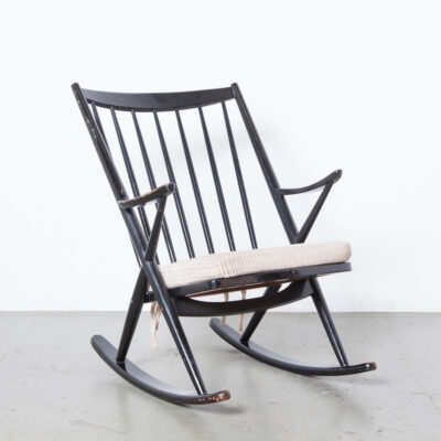 Model 182 Rocking Chair Frank Reenskaug Bramin Denmark armchair easy lounge Danish Modern black hardwood frame structure vertical spindles vintage retro mid-century 50s 1950s fifties