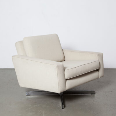 Florence Knoll Armchair International vintage original cream canvas colour upholstery rare swivel parallel bar base stainless steel cube club easy lounge chair retro mid-century modern 60s 1960s sixties squared-off rectangular Dr. No swanky bachelor pad James Bond