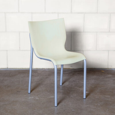 Cheap Chic chair Philippe Starck xO cream polypropylene shell grey epoxy lacquered aluminium tube frame lightweight stackable curvy seat springy back Post Modern postmodern vintage retro nineties 90s 1990s seating