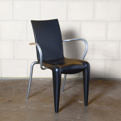 Louis 20 chair Philippe Starck Vitra black armrests blown polypropylene polished aluminium lightweight stackable recyclable curvy seat springy back indoor outdoor French King Post Modern postmodern vintage retro nineties 90s 1990s seating