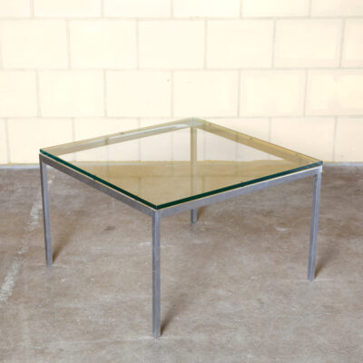 Florence Knoll End Table International square side coffee cube thick glass top chamfered edge chromed frame spare geometric presence vintage retro 50s 1950s fifties mid-century modern patina