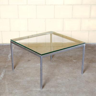 フローレンスノールエンドテーブルインターナショナルスクエアサイドコーヒーキューブ厚いガラストップ面取りエッジクロームフレームスペア幾何学的存在ヴィンテージレトロ50年代1950年代XNUMX年代ミッドセンチュリーモダン緑青