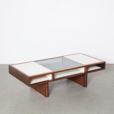 Coffee Table Dark wood edging stained Rosewood grain redwood removable smoked glass insert white melamine veneer surface magazine literature compartment 70s 1970s seventies vintage retro