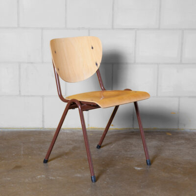 WANN vintage stacking school chair stackable wooden plywood seat shaped curved bent steel tube frame rust red-brown powder-coated retro industrial dining cafe patina worn used sturdy indestructible 60s 1960s sixties