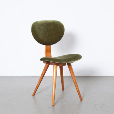 Pastoe Vintage стул новая обивка можжевельник зеленый велюр ретро середина века современный голландский дизайн гнутая фанерная опора спинки растопыренные ножки светлое дерево 50-е 1950-е годы 03-е годы SBXNUMX Сиденье Cees Braakman
