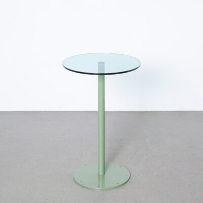 Nel Verschuuren Schouwburg Amstelveen Lobby Foyer Drinks Table Joosten Projecten pale green steel clear thick glass top ground chamfered edge RVS connector floor mounted sturdy minimalistic modern custom made not commercially available heavy duty built to last solid stable made-to-order exclusive architect designed