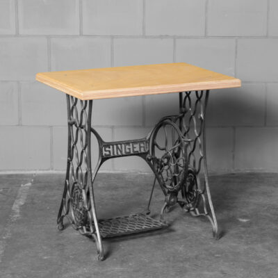 Singer side table accent cast iron base early flat-pack school desk size treadle mechanism wheel still functions new thick plywood top vintage retro industrial 1915 workbench