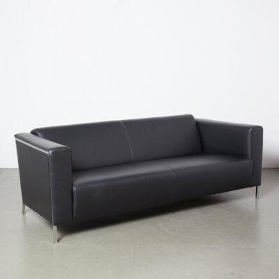 Steel Couch Enrico Franzolini Moroso black leather Dinano sofa 3-seater seating polyurethane foam chromed square tube big massive Italian modern contemporary angular current high quality luxurious comfort elegant 2000s design