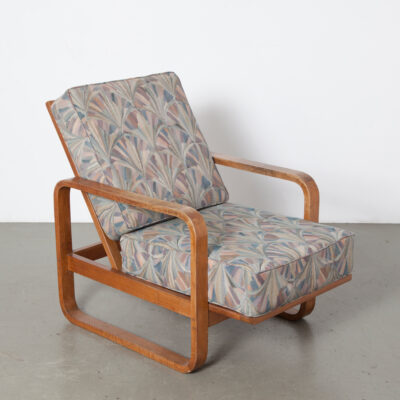 Art Deco reclining Armchair smokers chair grey with pale mottled muted colors upholstery blond solid Oak armrests legs frame vintage retro 40s 1940s forties easy lounge seating recliner Amsterdam School print
