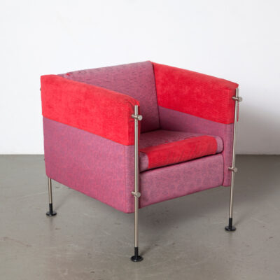 Кресло Felix Burkhard Vogtherr Arflex Италия Постмодерн, постмодерн, регулируемая по высоте, розовые, выцветшие, пурпурно-красные, чехлы на сиденья, потертые, с леопардовым принтом, квадратный куб, 80-е, 1980-е, XNUMX-е годы, внешние металлические ножки, удобные кресла для отдыха