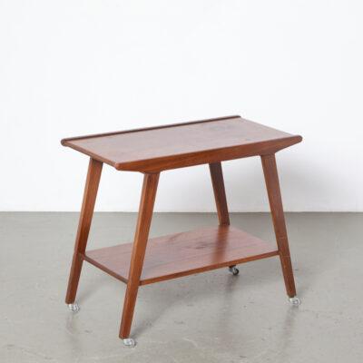 Приставной столик из тика Тележка для телевизора, упрощенная Louis van Teeffelen Колеса в стиле WéBé, шпон, массивный винтаж, ретро, середина века, модерн, 60-е, 1960-е, шестидесятые.