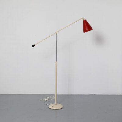 -Floor-lamp-6332-W-Rietveld-Gispen-نادر-الحداثة-الأبيض-الأحمر-الهولندي-تصميم-خمر-بنما-سلسلة-The-Netherlands-50's