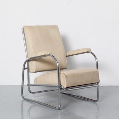 -хром-трубка-кресло-Arie-Verbeek-модель-57-D3-stalenbuismeubelen-1934-Нидерланды-арт-деко-музей-экспонат-Роттердам-Бойманс-Бёнинген-белый-skai-обивка-2100-металлический трубчатый -кресла-книжка-регулируемые