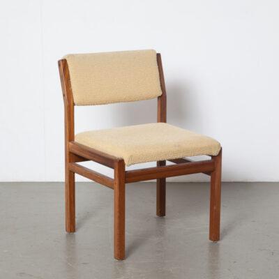 Pastoe - Silla de comedor, tapizado vintage beige, teca, estructura de madera tropical, diseño holandés, asiento cuadrado, respaldo inclinado, retro, moderno, de mediados de siglo, 60, 1960, XNUMX
